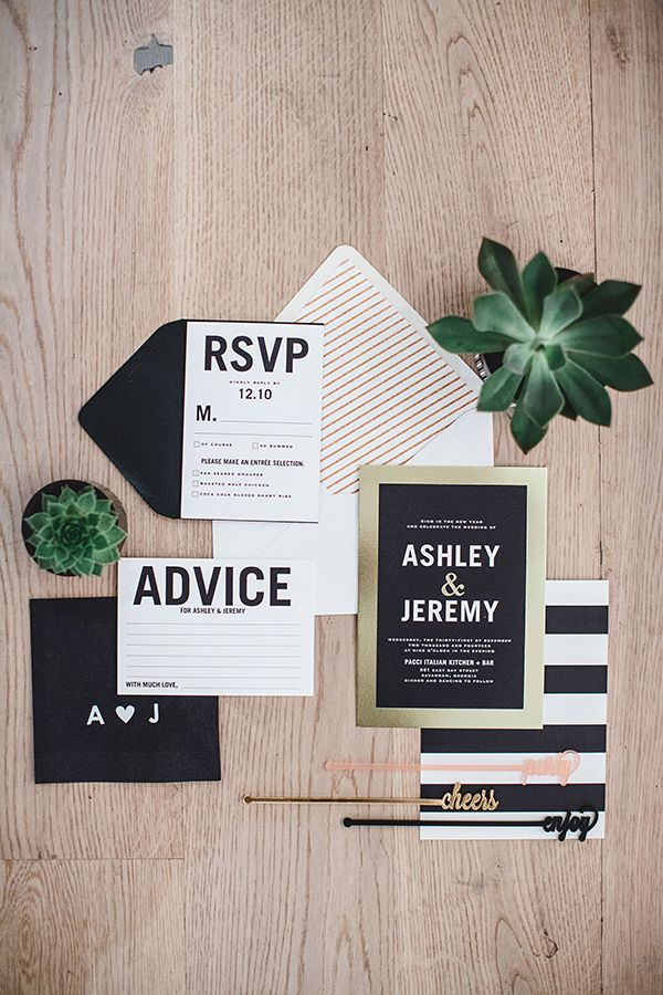 modern wedding invitations - photo by Izzy Hudgins Photography http://ruffledblog.com/a-modern-new-years-celebration