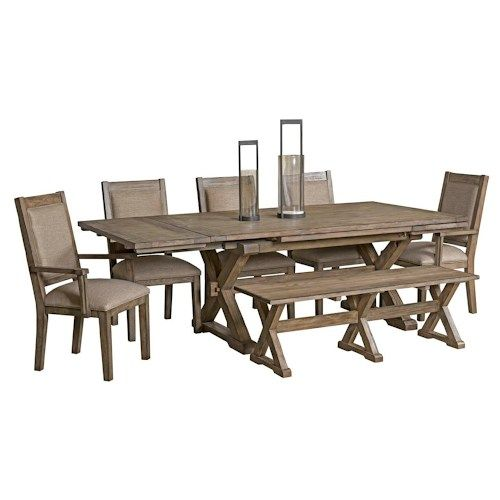 kincaid furniture foundry seven piece rustic dining set with bench - Rustic Dining Set
