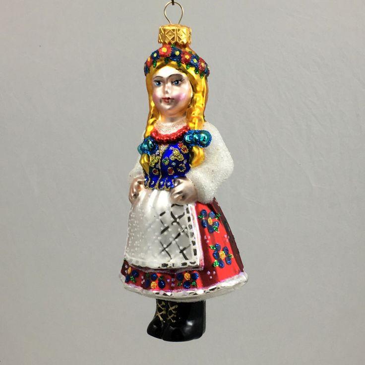 Bombka-KRAKOWIANKA-ozdoba choinkowa ze szkła ręcznie dekorowana 15 cm-Edward Bar