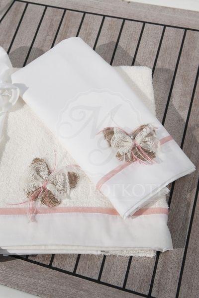 Λαδόπανα βάπτισης για κορίτσι βαμβακερό με μοτιφ πεταλούδα