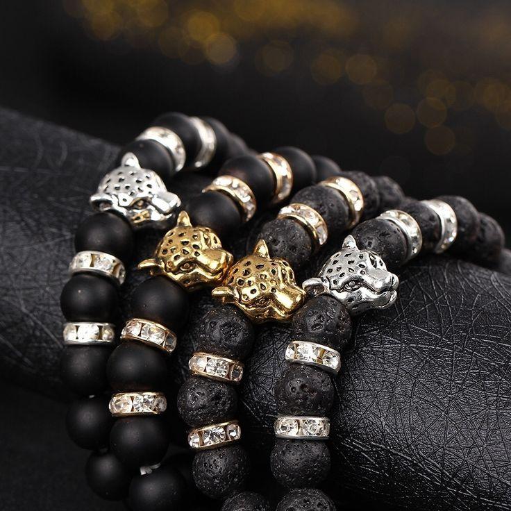 Gold or Silver Tone Leopard Matte Black Lava Bead Bracelet, AU$6.95