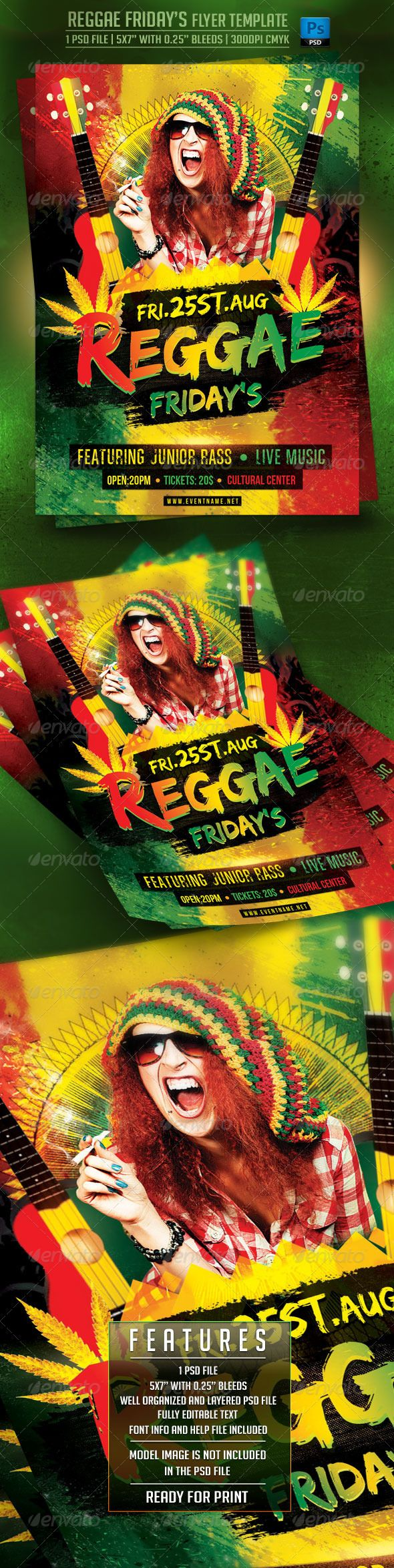 Reggae Friday's Flyer Template — Photoshop PSD #music #drink • Available here → https://graphicriver.net/item/reggae-fridays-flyer-template/7843054?ref=pxcr