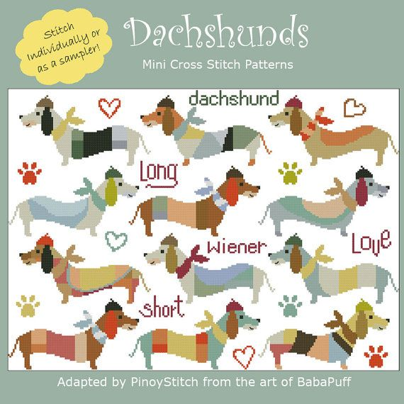 Dachshunds Cross Stitch PDF chart by PinoyStitch on Etsy