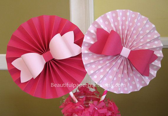 "2- 6"" Pink Bows Rosettes Centerpieces -Paper Fans- Pinwheels - Pink Birthday Bow  - Paper Rosettes  - Candy Buffet Decorations"