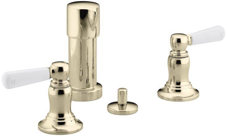 Bancroft Vertical Spray Bidet Faucet with White Ceramic Lever Handles