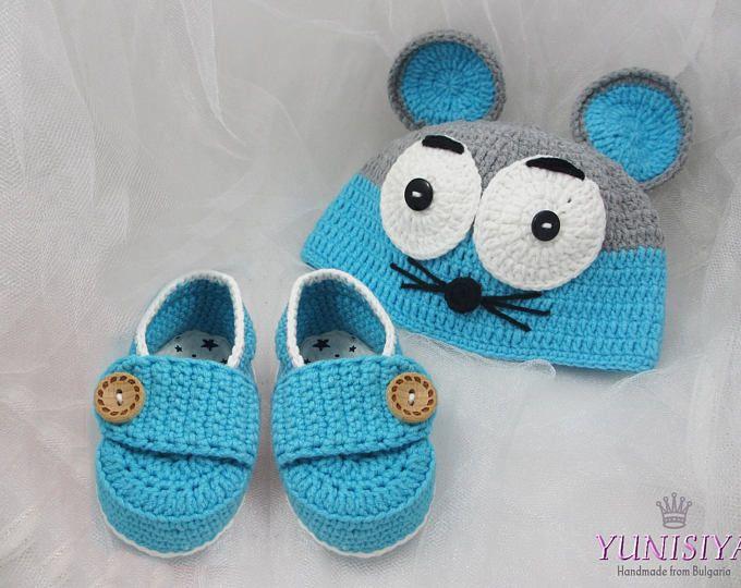 Bebé set bebé ganchillo sombrero ratón bebé Set Crochet Animal sombreros recién Foto accesorios Crochet ratón sombrero gris azul Mouse sombrero bebé traje de ganchillo