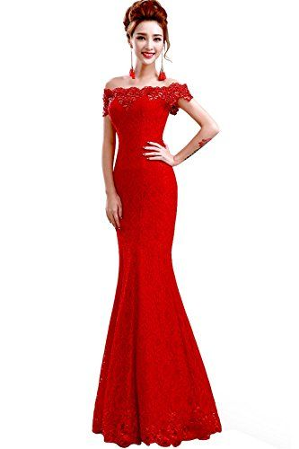 Babyonline fora do ombro laço vermelho sereia noite vestido de dama de honra formal   – Formal Dresses