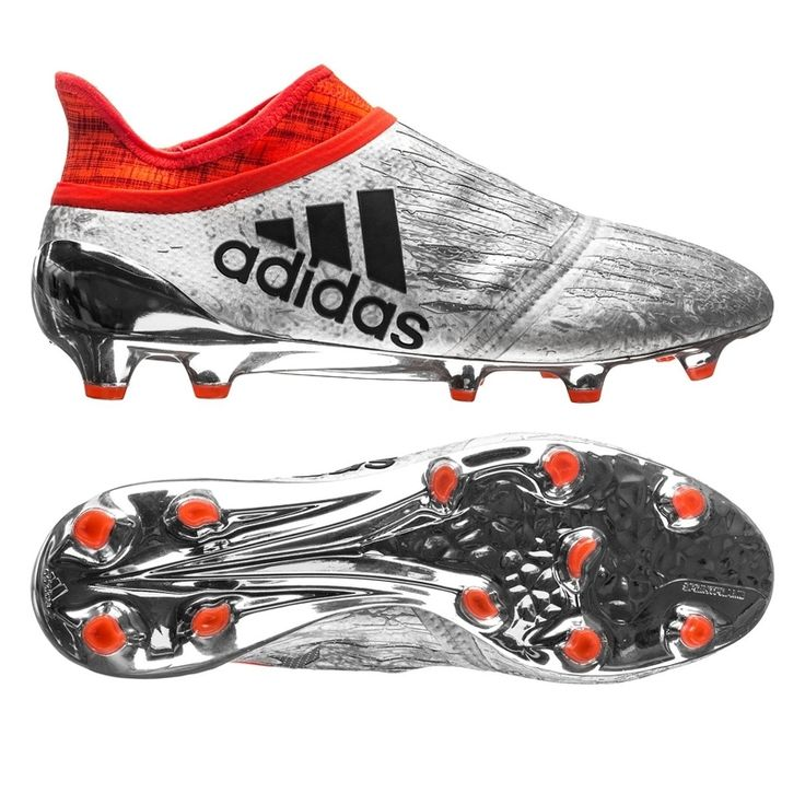 Adidas X PureChaos FG Soccer Cleats (Silver Metallic/Black/Solar Red)