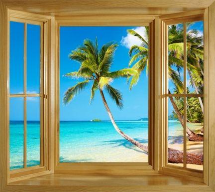 Tropical Window Mural Wall Decal Window Frame Wall