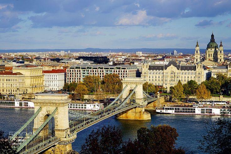 http://500px.com/photo/182469231 Gresham Palace by lolongan -The Chain Bridge Budapest Hungary.. Tags: BridgeBudapestCityRiverBasilicaChain Bridge
