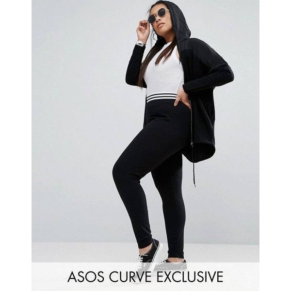 ASOS CURVE Legging With Tipped Elastic Waistband ($18) ❤ liked on Polyvore featuring pants, leggings, black, plus size, plus size tall pants, elastic waist pants, high waisted stretch pants, high rise leggings and high-waisted trousers