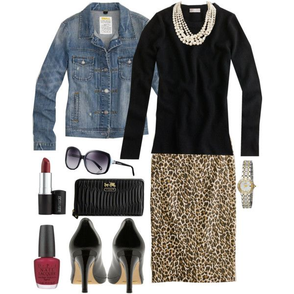 """From another pinner:  """"The versatility of this outfit is incredible; without jean jacket...perfect for office; put jean jacket on for the evening. J. Crew pencil leopard skirt is sold out but I saw one very similar this past weekend at Marshall's:)"""""""