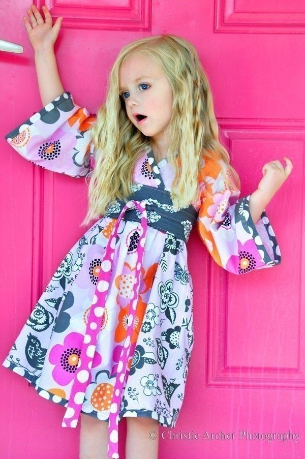 Back To School in STYLE -- Modern Flora KIMONO DRESS -- Available in Sizes 2T 3T 4T 5 6 7. $49.95, via Etsy.