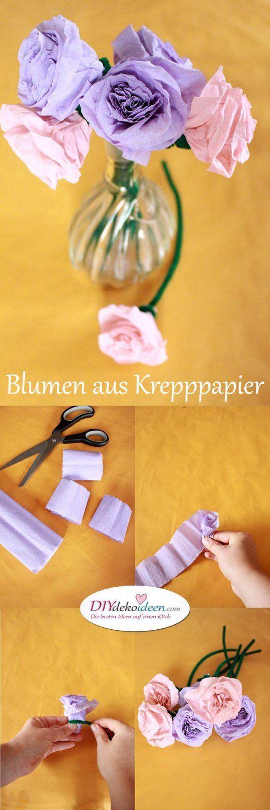 Spielerisch Rosen basteln mit Krepppapier – DIY Bastelideen für Kinder – Urmeli