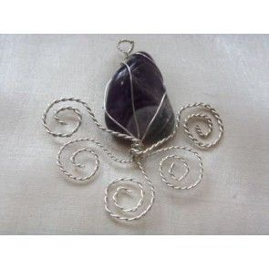 Wire wrapped Amethyst pendant, 70mm