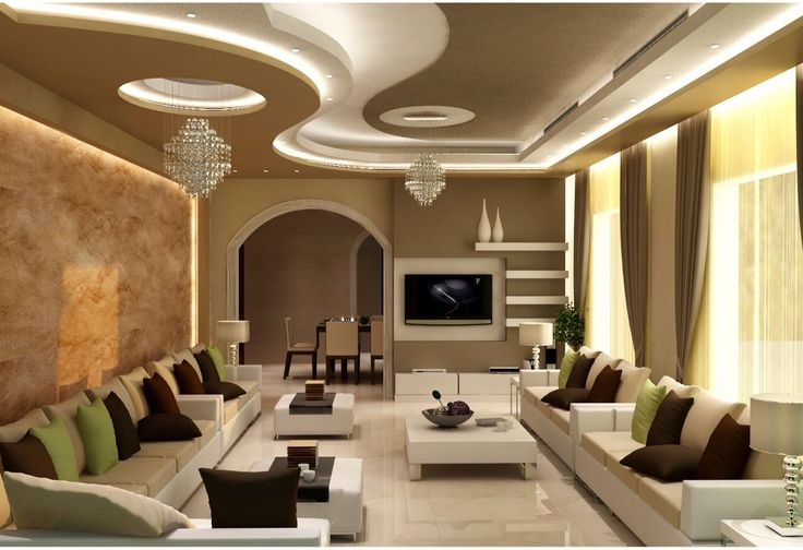 Gypsum ceiling design with cornice and concealed lights strip. #Interior #design #Architecture