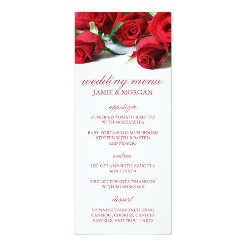 Romantic Red Roses Wedding Menu Card