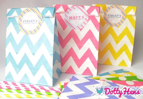 12 x Childrens Paper Loot Birthday Party Bags - with Personalised stickers on Etsy, $6.55