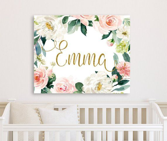Blush Gold Floral Nursery Wall Art Canvas Baby Girl Floral Etsy Floral Nursery Wall Art Floral Nursery Decor Baby Girls Floral Nursery