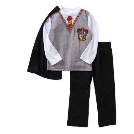 Harry Potter Boys' Harry'S School Uniform Long Sleeve Top And Pant Cape Set, Size: 10/12, Gray