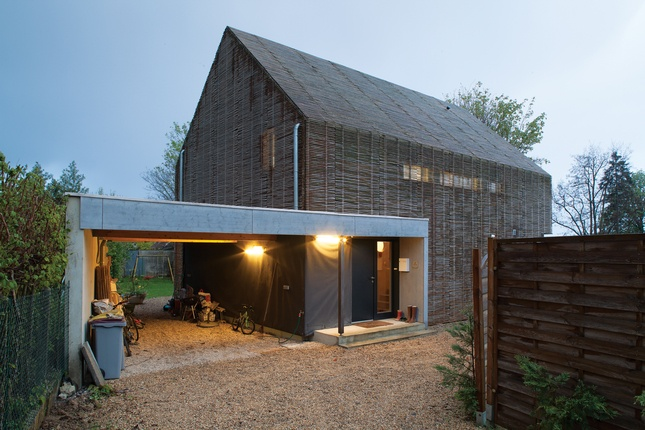 Bamboo clad passive house.