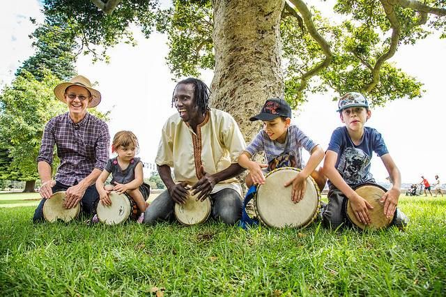 Children's Drumming sessions with Fode on the 'Mare & Foal' lawns
