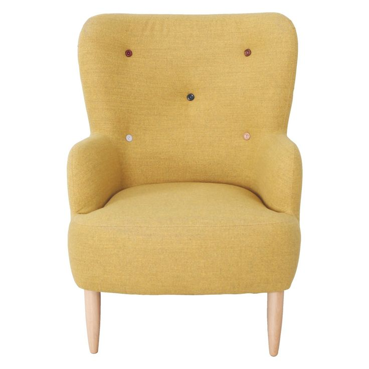 WILMOT Yellow wool mix armchair with multi-coloured buttons