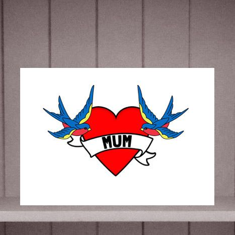 Bird and Heart Tattoo Style Mother's Day Card by Eskimo Circus