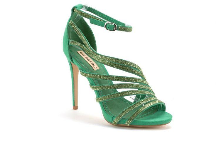 Scarpe Donna GOLD AND GOLD Sandali donna con brillantini Verde