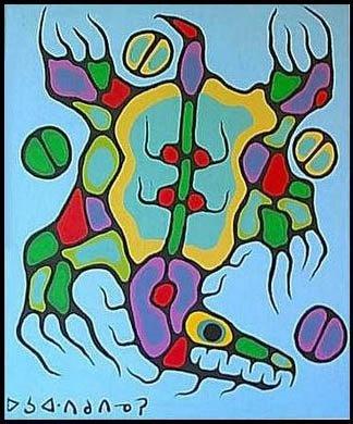 "Sacred Medicine Bear, 1979, by Norval Morrisseau (Canadian, 1932–2007). 36 x 30"""