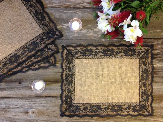 Rustic Placemats - Burlap and Black Lace, 14x18 - Country Wedding Table Placemat, Rustic Home Decor, Farmhouse Decor, Shabby Chic Decor