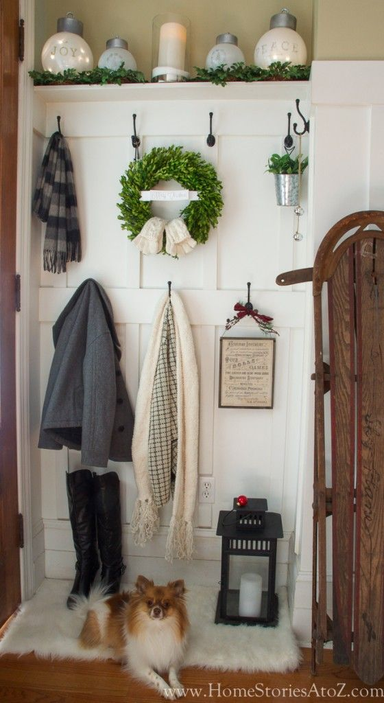 Greet your guests with a festive place to store their shoes and coats at your holiday party.