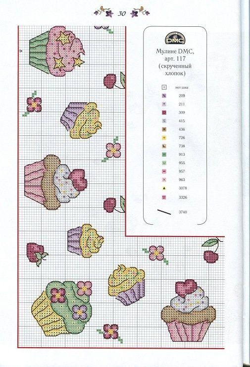 Este esquema de punto de cruz se ve muy lindo, se trata de una cenefa para bordar cupe cakes de diferentes sabores, o colores, y que ade...