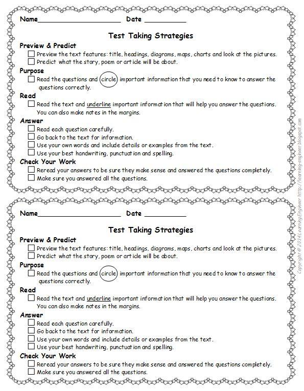 93 best test prep images on pinterest standardized test students freebie reading test taking strategy checklist for test prep fandeluxe Images