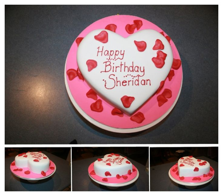 Heart cake....with fondant rose petals. Barbs Cakes ...