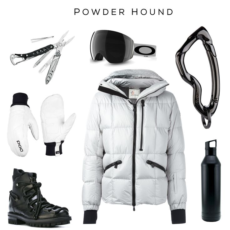 Powder Hound style set // Clockwise: Snowboarder's multitool by Leatherman, Snowboard Goggles by Oakley, Arcus carabiner by @svorndesign, Water Bottle by MIIR, Coat by Moncler, Boots by DSQUARED2, Gloves by poc //  #edc #snowboarder #style #snowboard #mensstyle #snowboardaccessories #white #black #blackandwhite, #carabiner #keychain