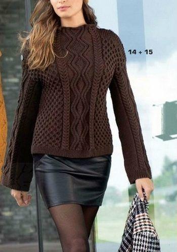 Рельефный пуловер спицами. Пуловер с узором коса спицами | Вязание для всей семьи