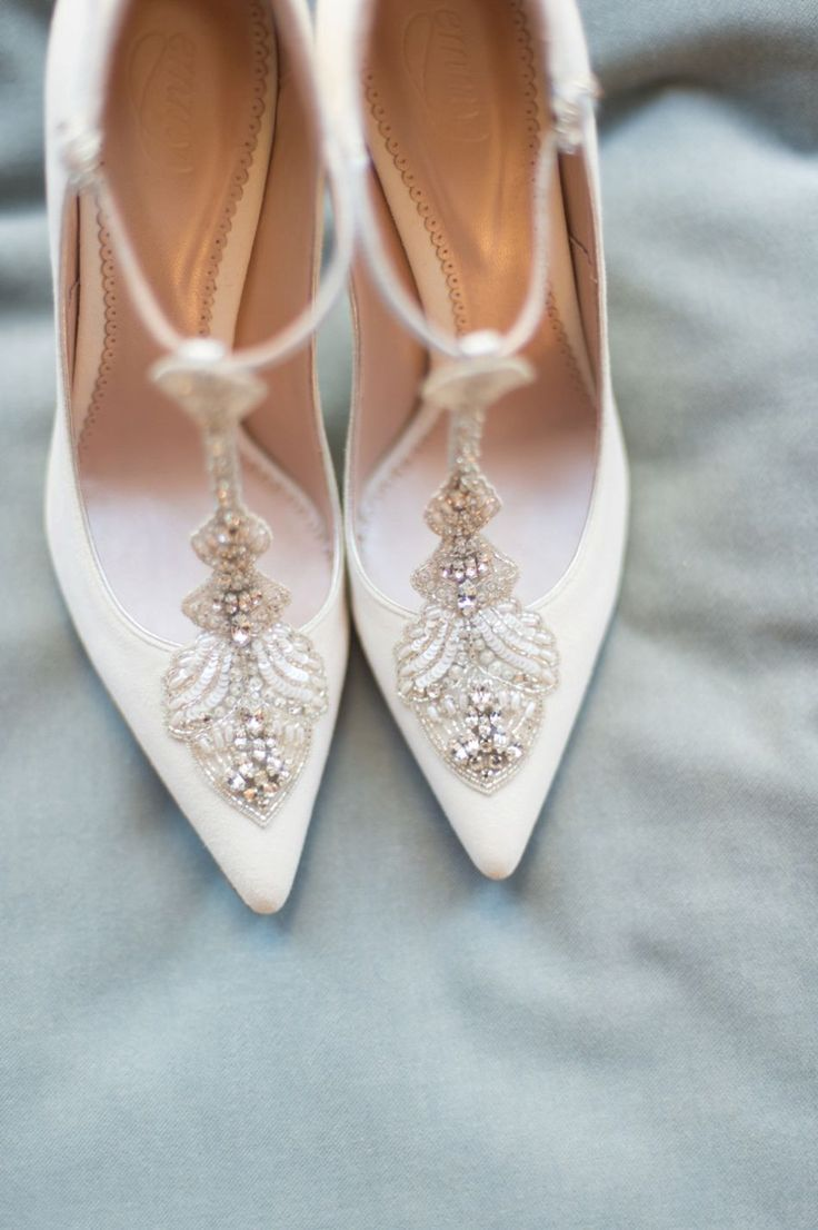 White T-Bar embellished court shoes from The Cancello Collection by Emmy London