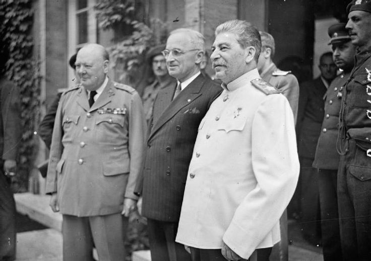 Winston Churchill, Harry Truman, and Joseph Stalin at the Potsdam Conference, Germany, 23 Jul 1945