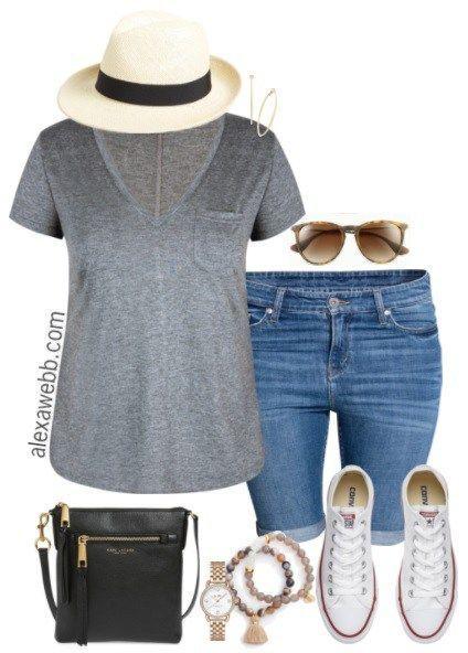 Plus Size Summer Shorts Outfit - Plus Size Fashion for Women - alexawebb.com