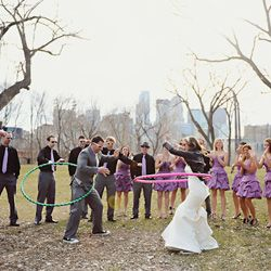 This couple and their bridal party took some seriously funky portraits, including a hula hoop bout between the bride and groom.