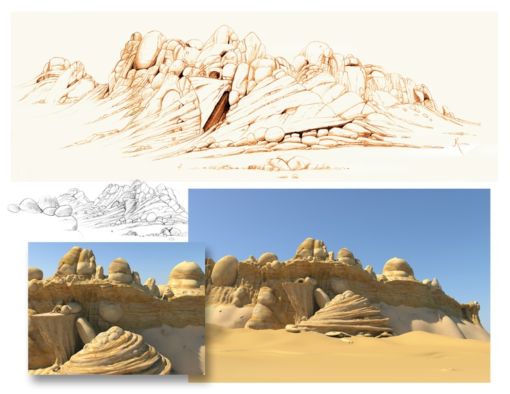 #Concept #design for a mountain in a Jungle Beat short animation