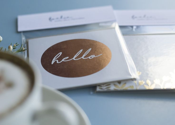"""Hello"" copper foiled gift cards. #h_borcherds"