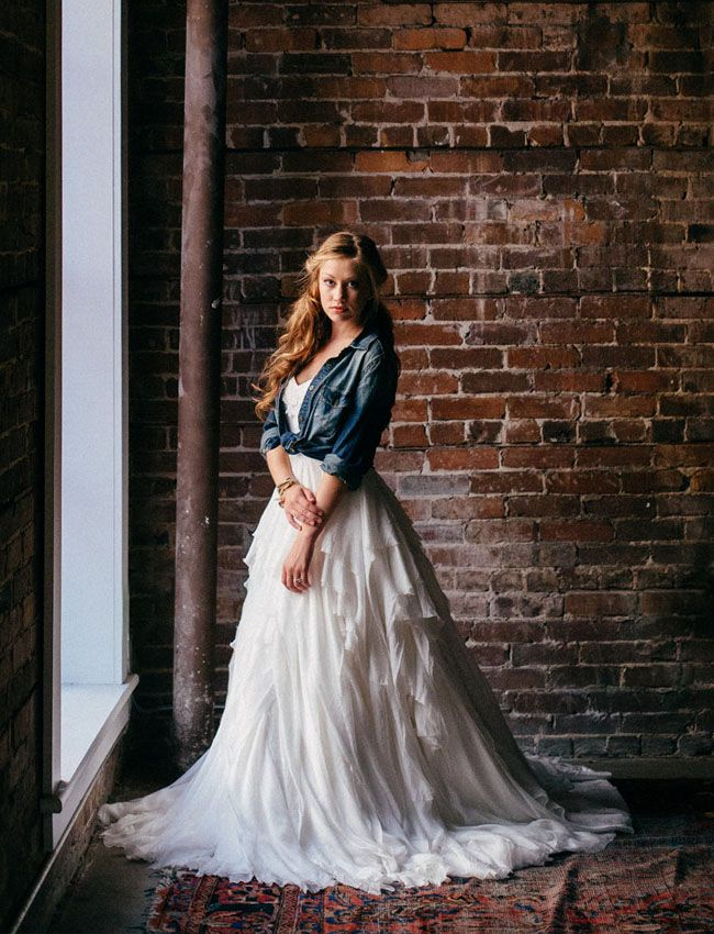 Ivy & Aster wedding dress paired with a chambray shirt - love!