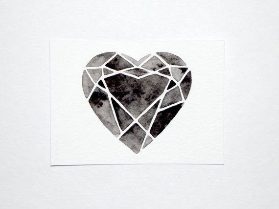 ACEO  Original Watercolor  Cutting Diamonds Heart by GeometricInk, $10.00