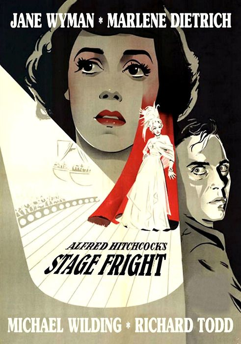 Alfred Hitchcock's  Stage Fright - Michael Wilding * Richard Todd * Jane Wyam * Marlene Dietrich. 1950 http://wehadfacesthen.tumblr.com/post/1004934859/stage-fright-1950-via-fuckyeahhitchcock