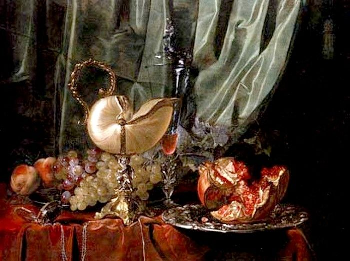 Willem van Aelst (1627-1683) —  Still Life with Nautilus Cup and Pomegranate, c. 1650  (700x522)