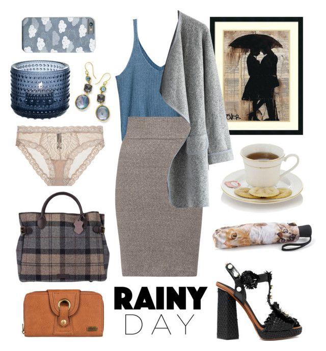 """Rainy day"" by elshakalaka on Polyvore featuring H&M, Barbour, Amanti Art, Enza Costa, Dolce&Gabbana, Chicwish, Roxy, iittala, Ippolita and Natori"