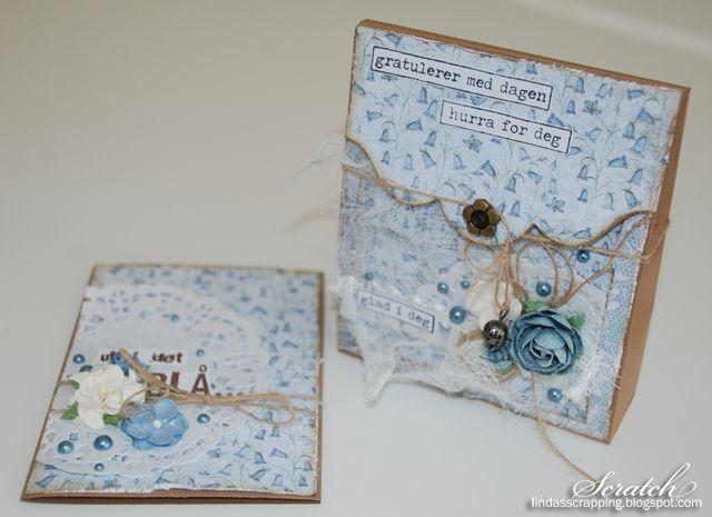 Gavepose med kort, laget etter mal fra Wenche Wold