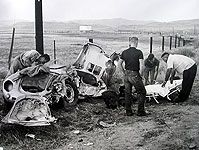 """Vintage photo of site of James Dean's death (Sept. 30, 1955)  James Dean spent his entire paycheck from East of Eden to buy the equally legendary Porsche 550  'Spyder"""" in which he lost his life driving to a sports car race at the Salinas Airport, in California's Central Valley west of Bakersfield."""